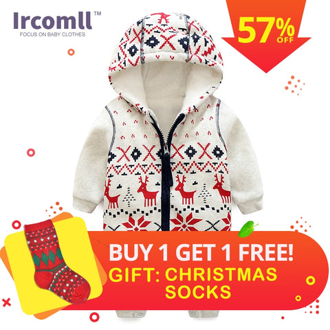 f67b8ec2e297 Winter New Thick Christmas Baby Boy Clothes Newborn Baby Warm Rompers Infant  Outerwear Christmas Gifts Children s