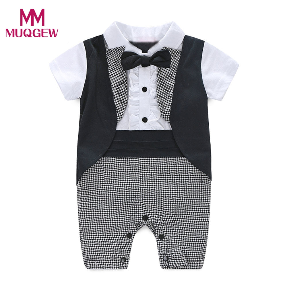 2017 Fashion Baby Boy Formal Party Christening Wedding Tuxedo Waistcoat Short Sleeve Bow Tie Suit comfortable Cotton Clothes-eosegal