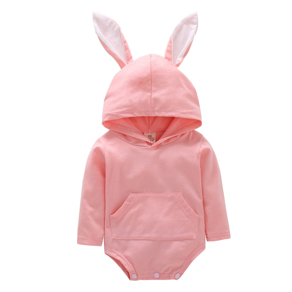 Autumn Winner Toddler Infant Baby Girls Boys Cartoon Rabbit Ear Hooded Romper Jumpsuit Outfits Drop Shipping-eosegal