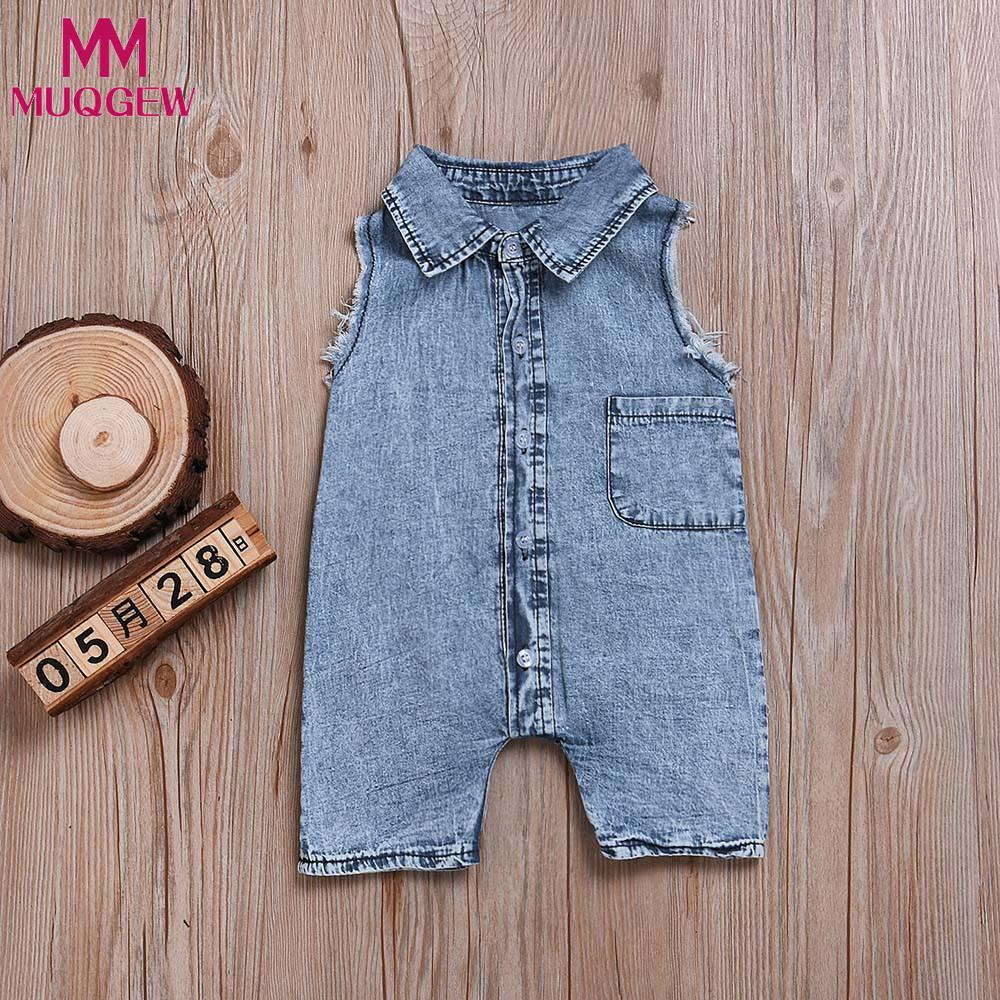 MUQGEW body for newborns Infant Baby Boys Sleeveless Jeans Romper Jumpsuit Children Clothes baby girl romper ropa de bebe-eosegal