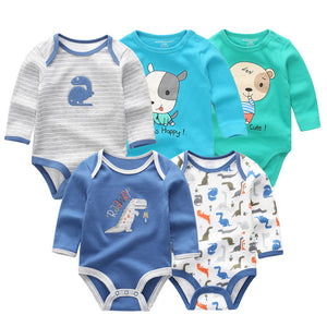 5 PCS/lot newbron 2018 winter long sleeve baby rompers set baby jumpsuit girls baby girl romper roupa de bebe baby boy clothes-eosegal