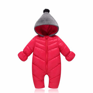 2018 Newborn Baby snowsuit duck down Rompers windproof new born girl boy Super soft Warm winter clothes with fur Hooded jumpsuit-eosegal