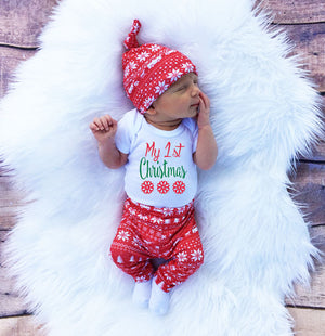 2016 Christmas Newborn Baby Girl Boy Snowflake Romper Pants Leggings Hat 3pcs Outfits Infant Bebek Clothing Set 0-18M-eosegal