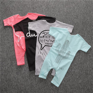 HOT sale toddler boys girls clothing infant pure color letter printing Rompers Jumpsuit Outfits-eosegal