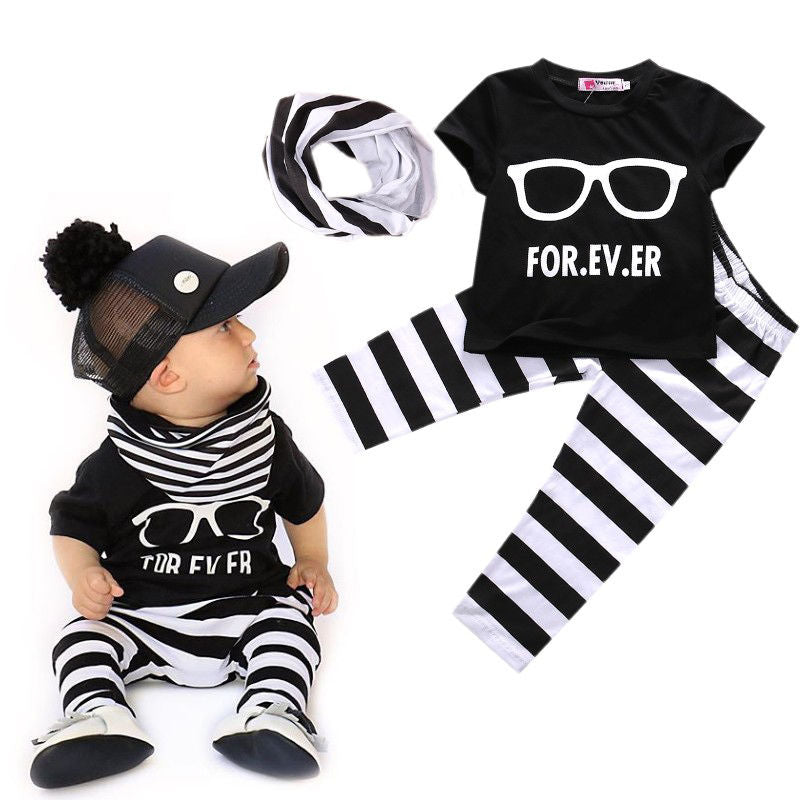 Newborn 0-24Months Baby Boys Top T-shirt + Pants + Scarf Baby Outfits 3PCS sets baby boy clothes-eosegal