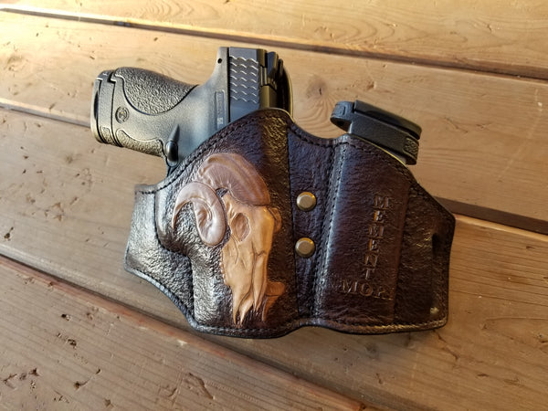 Modern S&W Sheild Holster with Goat Skull and Memento Mori