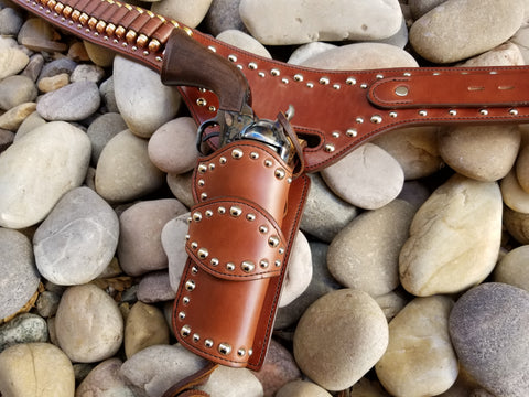 silver studded drop holster