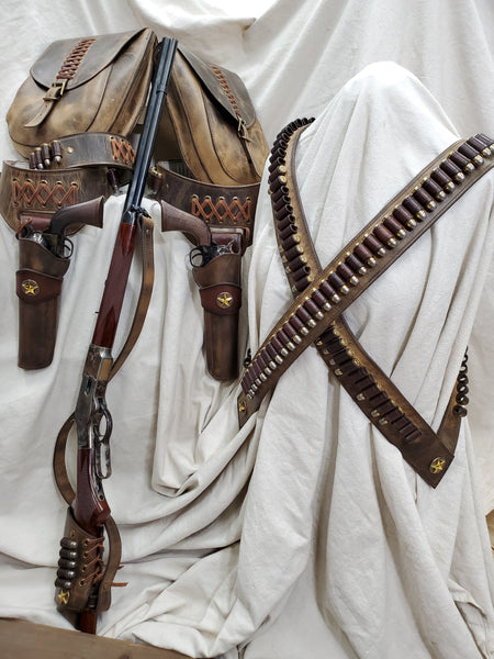 Rustic Western Gun Leather; Twin Buscadero Gun Rigs, Rifle harness and sling, saddle bags and Full Bandoliers