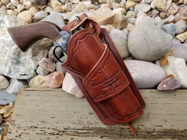 Custom Leather - custom leather western holster with company logo brand