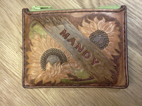 Leather Wallet with Sunflowers Personalized