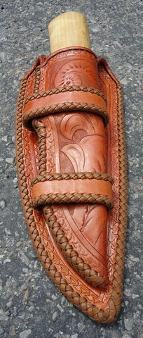Leather knife sheath front view