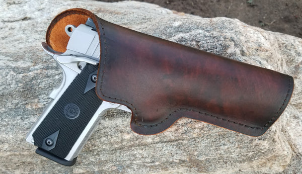 Custom 1911 holster suede lined with marble brindle dye