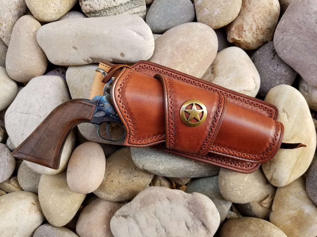 Western holster with ranger star in brown leather and antique brass accent