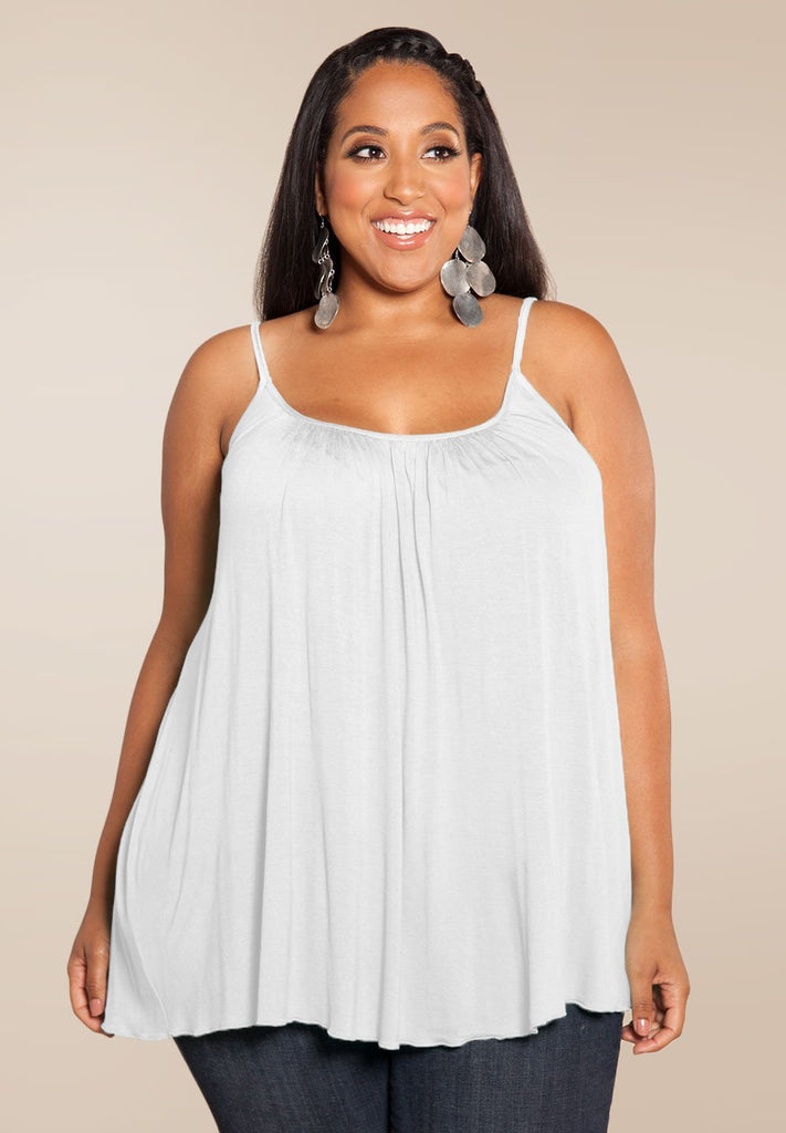 Plus Size White Flowing Pretty Cami - My Luxury Intimates