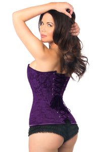 Lavish Lace Over Bust Lace UpPurple Corset