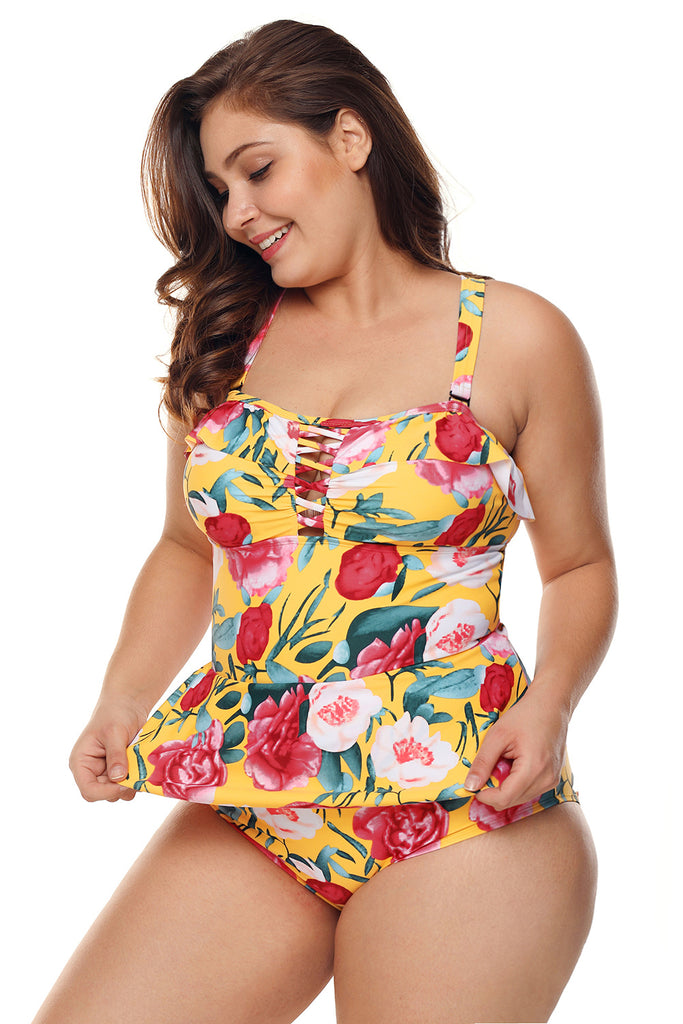Plus Size Floral Print Crisscross Detail Teddy Swimsuit - My Luxury Intimates