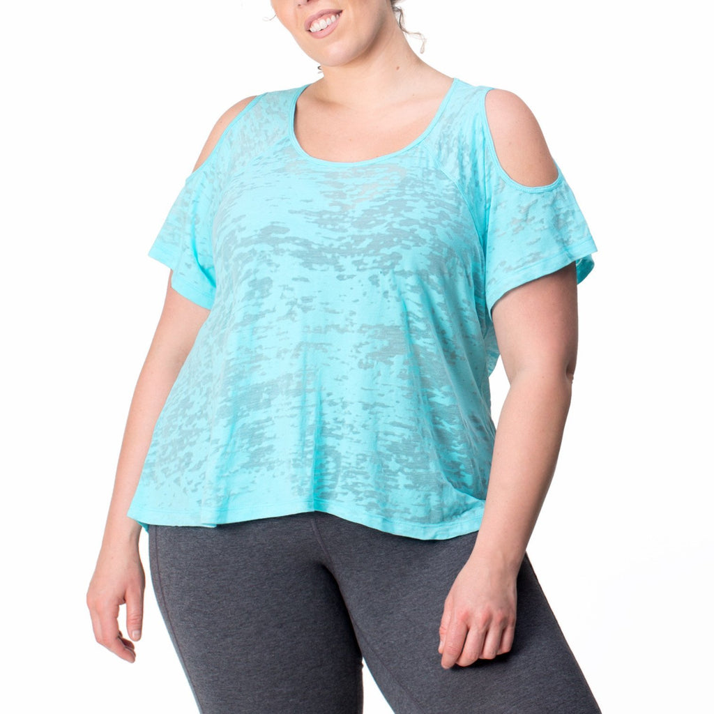 "Women's Plus Size ""Joni"" Active Tee in Neon Blue Clear Skies"