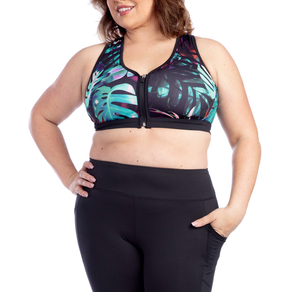 Gabriella Tropical Print Plus Size Sports Bra - My Luxury Intimates