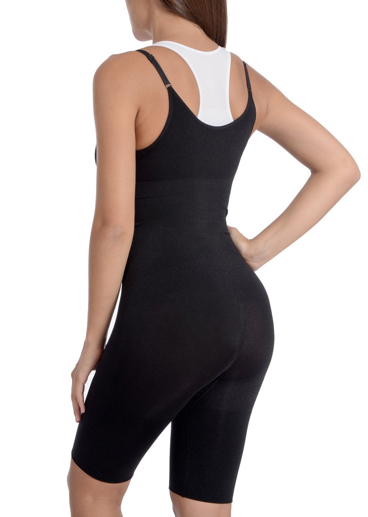 Seamless Black Underbust Thigh Coverage Bodysuit - My Luxury Intimates
