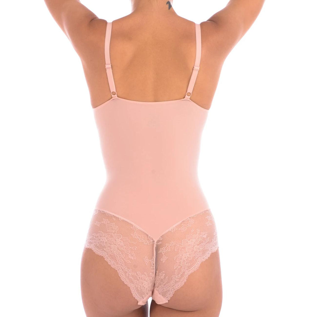 Blush Bodysuit Shaper With Sexy Lace