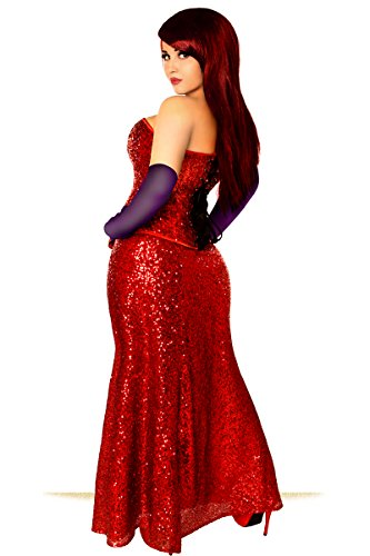 Miss Jessica Red Sequin Corset Gown Dress - My Luxury Intimates