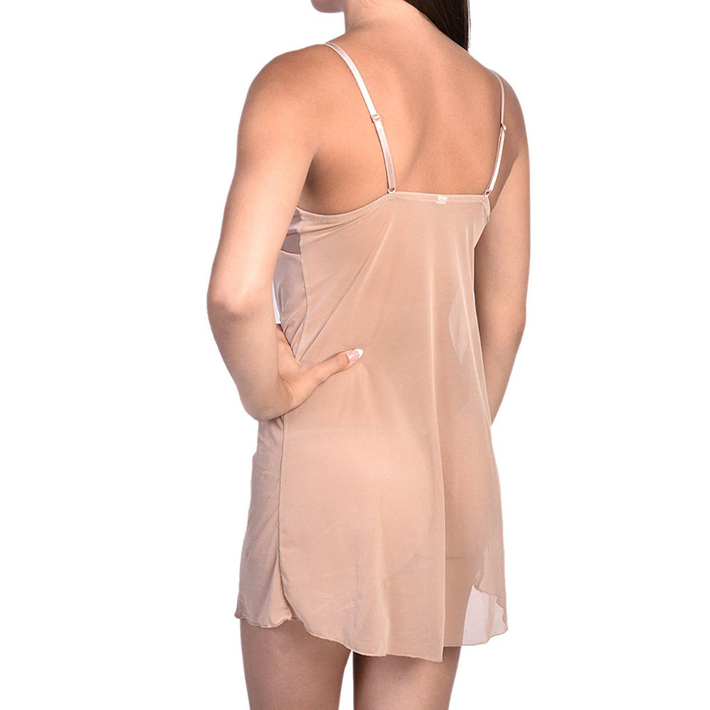 Sexy Satin & Sheer Mesh Slip With Panty Nude Full Slip