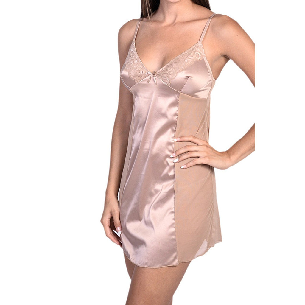 Sexy Satin & Sheer Mesh Slip With Panty Nude Full Slip - My Luxury Intimates