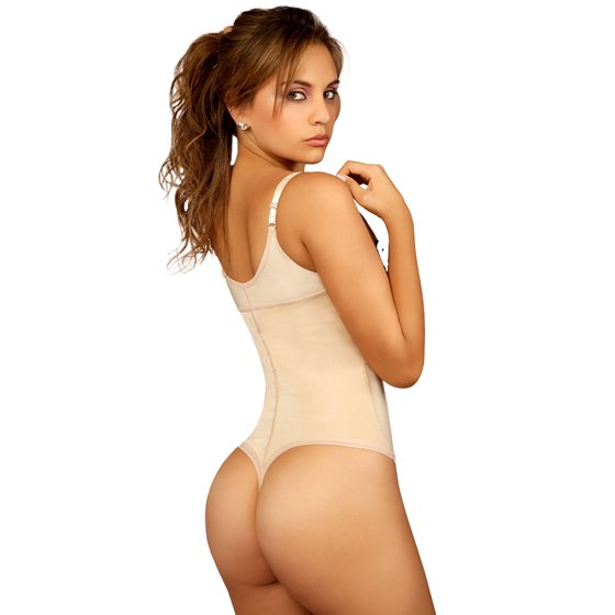 Vedette Evonne Beige Thong Bottom Bodysuit Fajas Reductoras