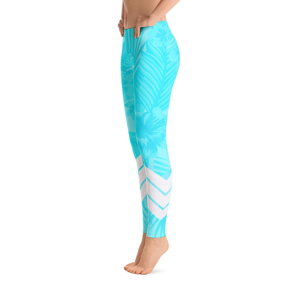 Blue Neon and White Womens Active Fitness Leggings from California