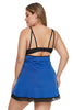 Blue Plus Size Lace Neckline Lingerie Dress with Thong - My Luxury Intimates
