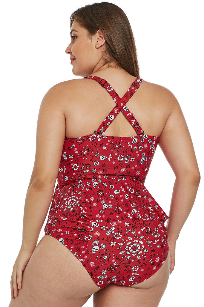 Red Print Moulded Cups Peplum Plus Size Bikini - My Luxury Intimates