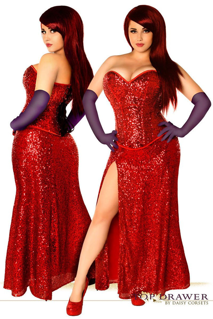 Miss Jessica Red Sequin Corset Gown Dress