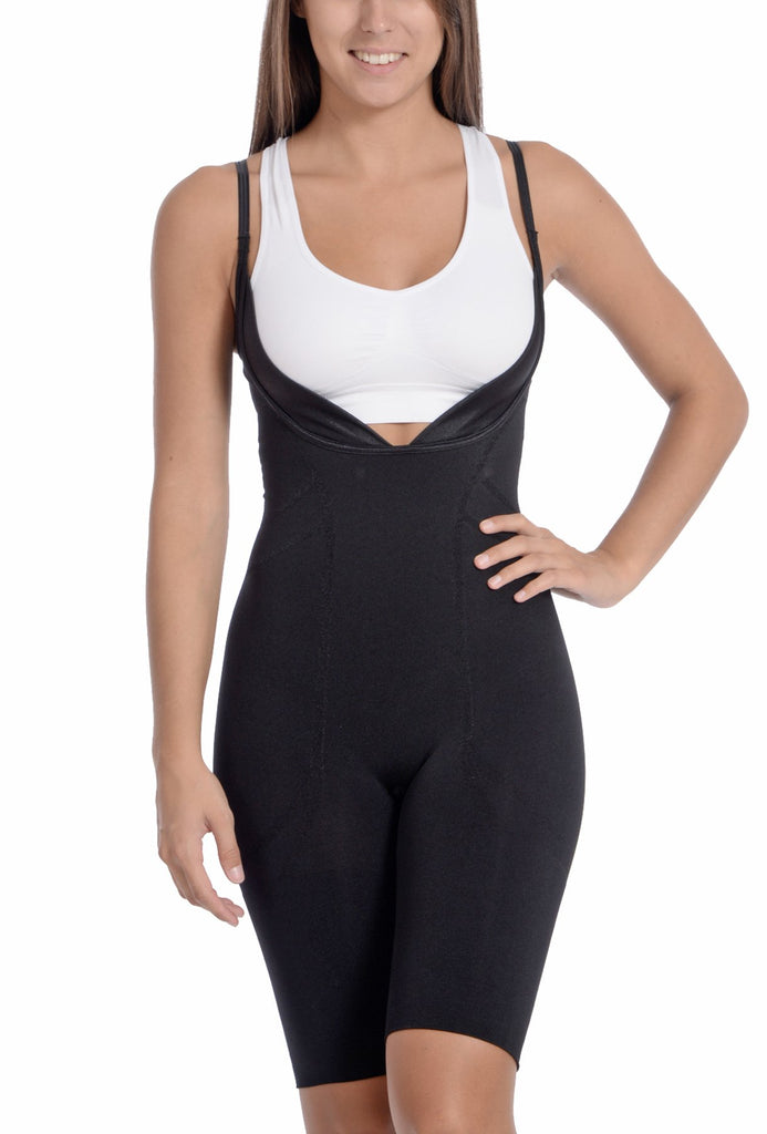 Seamless Black Underbust Thigh Coverage Bodysuit