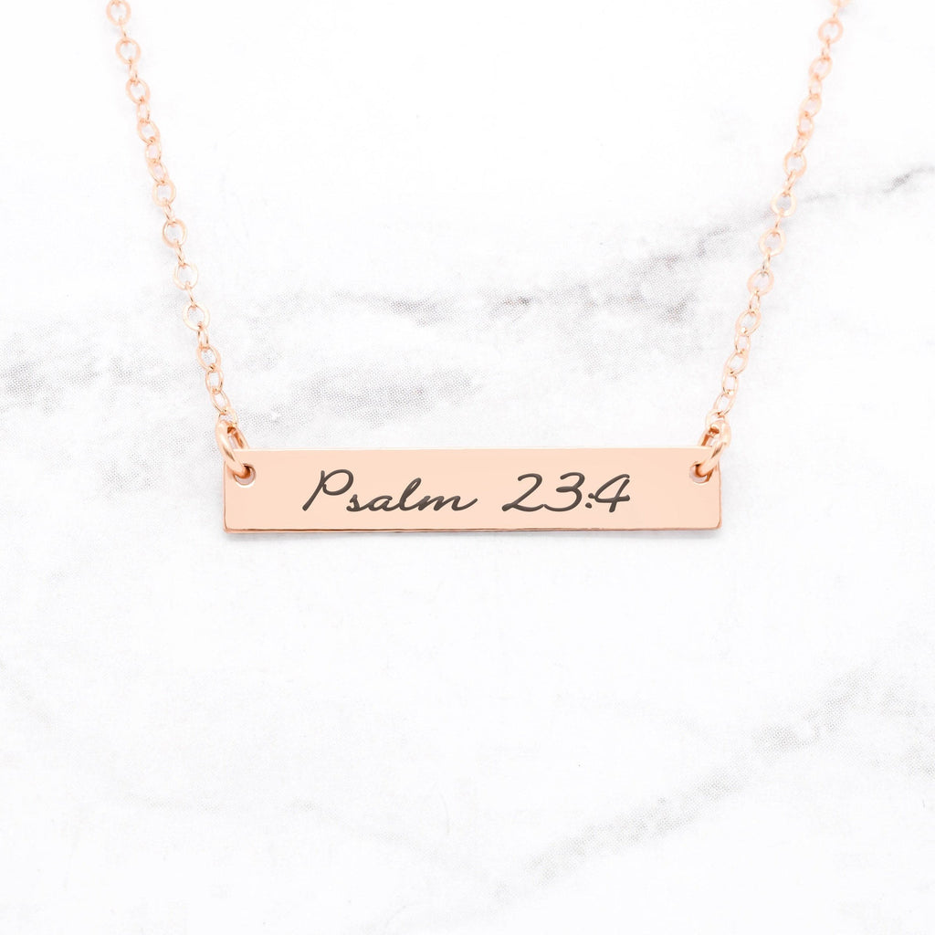 Psalm 23:4 Necklace - Gold Bar Necklace - My Luxury Intimates