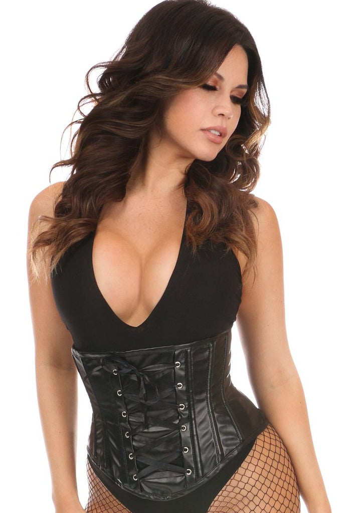 Lavish Wet Look Faux Leather Mini Underbust All Black Corset - My Luxury Intimates
