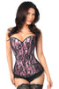 Lavish Pink Satin and Black Lace Front Zipper Corset - My Luxury Intimates