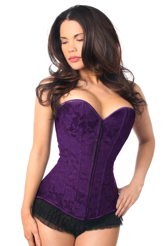 Lavish Purple Lace Overbust Corset - My Luxury Intimates