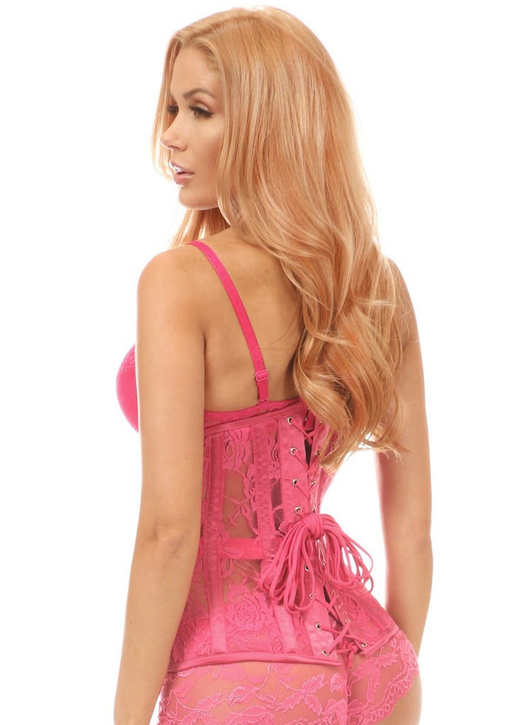 Lavish Fuchsia Sheer Lace Under Bust Corset - My Luxury Intimates