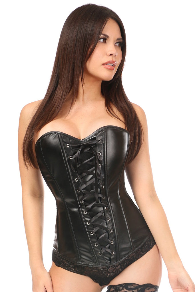 Lavish Wet Look Faux Leather Lace-Up Over Bust Corset - My Luxury Intimates