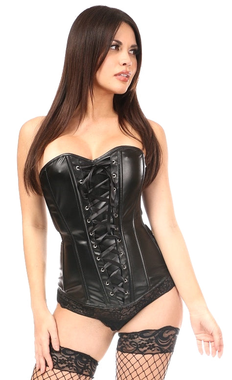 Faux Leather Overbust Corset in Plus Size