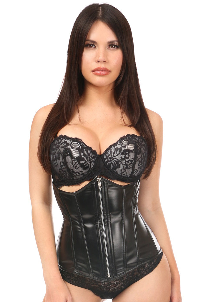 Daisy Corsets Black Wet Look Faux Leather Underbust Corset