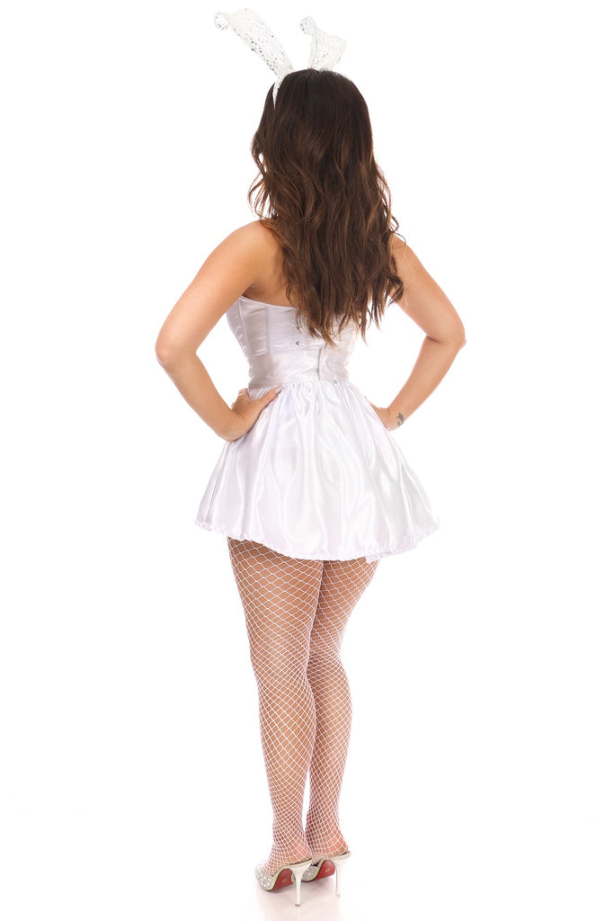Daisy Corsets Lavish 3 PC White Satin Bunny Corset Costume - My Luxury Intimates