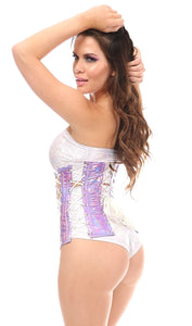 Top Drawer Pink Holographic Underbust Corset