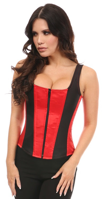 Top Drawer Black and Red Satin Steel Boned Uniforming Corset w/Straps - My Luxury Intimates