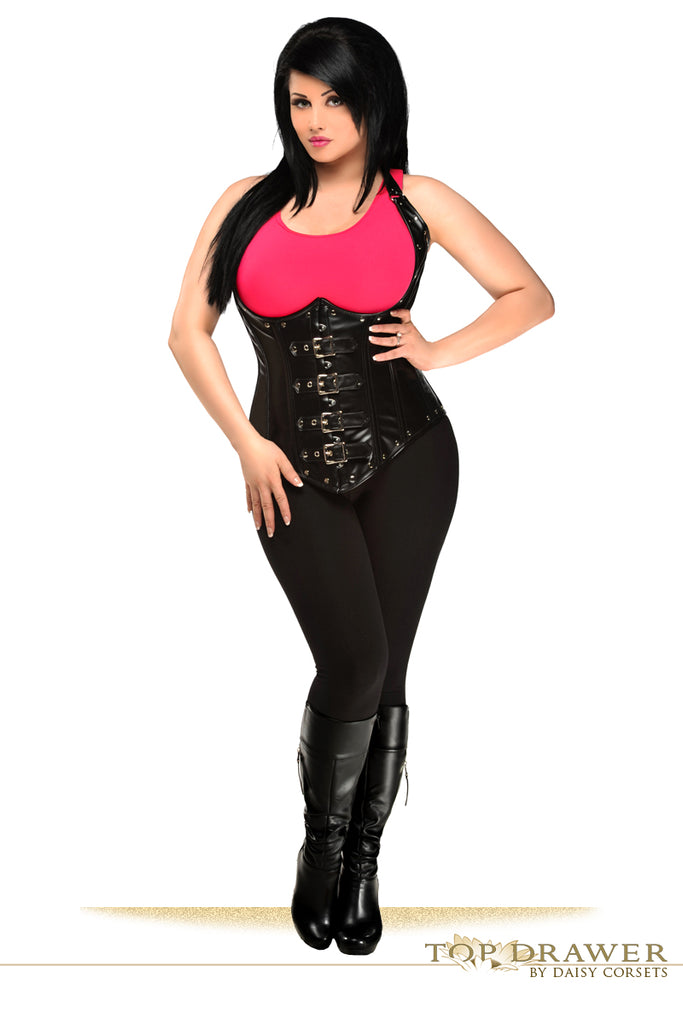 Top Drawer Steel Boned Faux Leather Underbust Corset Top - My Luxury Intimates