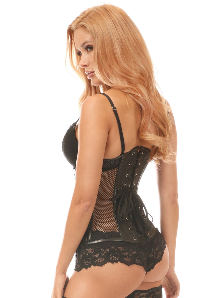 Steel Boned Fishnet and Faux Leather Underbust Corset - My Luxury Intimates