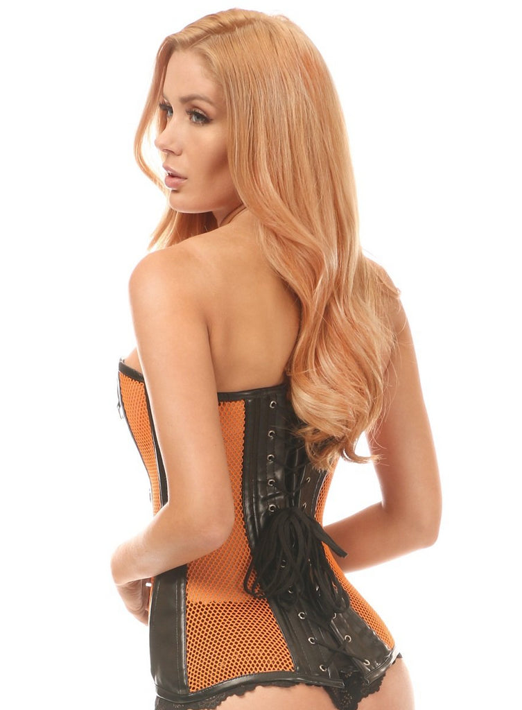 Top Drawer Faux Leather & Fishnet Steel Boned Overbust Corset - My Luxury Intimates