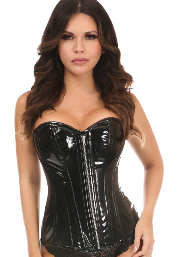 Daisy Corsets Black Top Drawer Patent PVC Overbust Corset - My Luxury Intimates