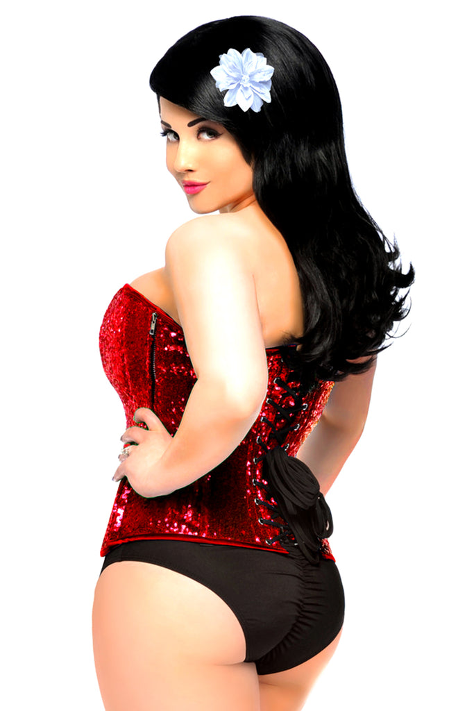 Top Drawer Red Sequin Steel Boned Corset - My Luxury Intimates
