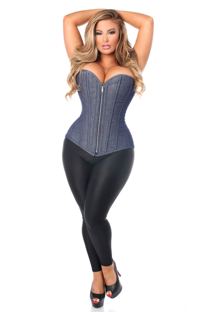 Top Drawer Denim Blue Steel Boned Overbust Corset w/Zipper - My Luxury Intimates